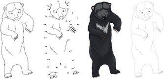 Cartoon Asiatic black bear. Vector illustration. Dot to dot game Royalty Free Stock Photos