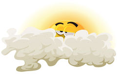 Cartoon Asleep Sun Character Royalty Free Stock Photo