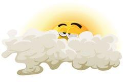 Cartoon Asleep Sun Character stock illustration