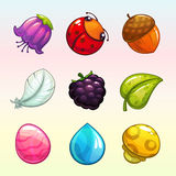 Cartoon assets for match 3 game design. Nature objects icons set stock illustration