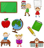 Cartoon assorted school supplie and activitie Royalty Free Stock Images