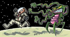 Cartoon astronaout running from an alien Stock Image