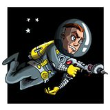 Cartoon astronaout in a space suit Royalty Free Stock Images