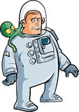 Cartoon astronaut with alien on his shoulder Stock Photography