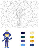 Cartoon astronaut. Color by number educational game for kids Stock Photos