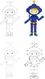 Cartoon astronaut. Dot to dot game for kids Royalty Free Stock Image
