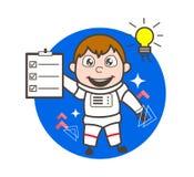 Cartoon Astronaut Got an Idea and Showing a Checklist Vector Illustration. Cartoon Astronaut Got an Idea and Showing a Checklist Vector Design Stock Image
