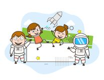 Cartoon Astronaut with Happy Kids and Banner Vector Illustration. Cartoon Astronaut with Happy Kids and Banner Vector Design Royalty Free Stock Photo