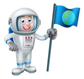 Cartoon Astronaut Holding Flag Stock Photo