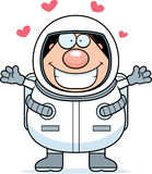Cartoon Astronaut Hug Royalty Free Stock Images