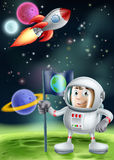 Cartoon Astronaut and Rocket Stock Photography