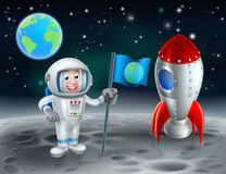 Cartoon Astronaut and Rocket on the Moon Royalty Free Stock Photos