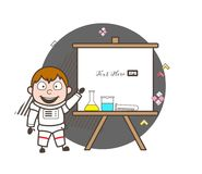 Cartoon Astronaut with Science Lab Equipments and Presentation Banner Vector Illustration. Cartoon Astronaut with Science Lab Equipments and Presentation Banner Stock Images