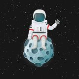 Cartoon astronaut sitting on the Moon waving. Outer space and stars in the background. Cartoon astronaut sitting on the Moon waving. Outer space with stars in
