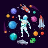 Cartoon astronaut in space. Spaceman rocket, stary ufo spaceship and planets vector illustration stock illustration