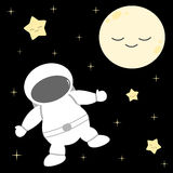 Cartoon astronaut in the space with stars and moon funny cute background illustration Royalty Free Stock Photography