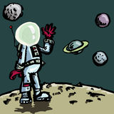 Cartoon astronaut in a space suit Royalty Free Stock Photography