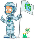 Cartoon astronaut in space suit characters set Stock Image