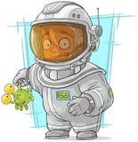 Cartoon astronaut in space suit Stock Photos