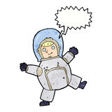Cartoon astronaut with speech bubble Royalty Free Stock Image