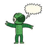 Cartoon astronaut with speech bubble Stock Photo