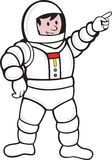 Cartoon Astronaut Standing Pointing Royalty Free Stock Photography