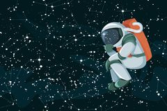 Cartoon astronaut thinking or searching solution on space coloed background stock illustration