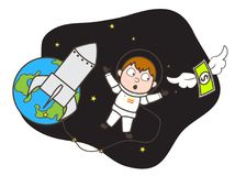 Cartoon Astronaut Trying to Catch Money in Space Vector Illustration Stock Photos