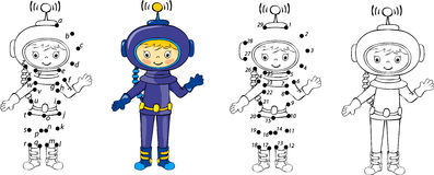 Cartoon astronaut. Vector illustration. Coloring and dot to dot  Stock Photo