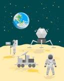 Cartoon Astronauts on Moon Surface Landscape. Vector Stock Image