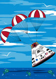 Cartoon Astronauts Space Capsule. Vector Illustration of a Cute Cartoon Astronauts Space Capsule Splashing down in the Ocean Royalty Free Stock Photos