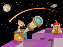 Cartoon astronomy observatory. Cartoon vector illustration of an astronomy observatory with a rocket ready to fly Stock Image
