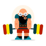Cartoon athlete with a barbell involved in weightlifting and pow Stock Photo