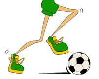 Cartoon athletic legs plays football Stock Photos