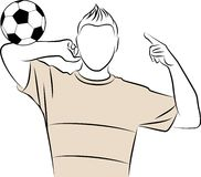 Cartoon athletic man plays football Stock Photos