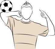 Cartoon athletic man plays football Stock Photos