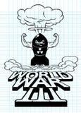 Cartoon atomic bomb and atomic mushroom cloud,Drawing style.. Cartoon atomic bomb and atomic mushroom cloud,Drawing style.Vector illustration,World War Stock Photography