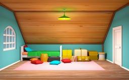 Cartoon attic interior Stock Image