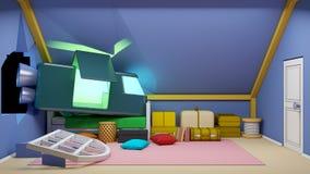 Cartoon attic with spaceship Stock Photos