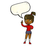 cartoon attractive girl with idea with speech bubble Stock Photography