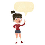 Cartoon attractive girl with idea with speech bubble Royalty Free Stock Image