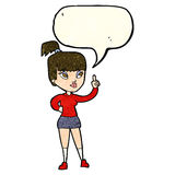 Cartoon attractive girl with idea with speech bubble Royalty Free Stock Photo