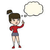 Cartoon attractive girl with idea with thought bubble Royalty Free Stock Images