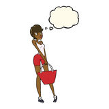 cartoon attractive woman shopping with thought bubble Royalty Free Stock Images