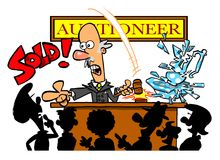 Cartoon auctioneer. Smashing a sold item with his gavel Royalty Free Stock Images
