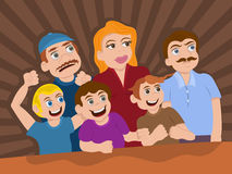 Cartoon audience or fans. Vector illustration of cartoon character  audience or fans in exciting event or show, like concert, circus or play for children Royalty Free Stock Photo