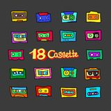 Cartoon audio cassettes. Collection of cartoon audio cassettes from the 1980s, 1990s. Great for typography, textiles, interior design. Vector illustration stock illustration