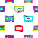 Cartoon audio cassettes. Seamless pattern with cassettes from the 1980s, 1990s. Suitable for different types of decoration stock illustration
