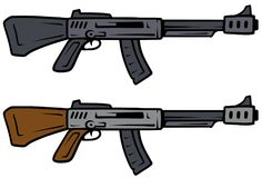 Cartoon automatic rifles vector weapon icons. Cartoon automatic rifles isolated on white background. Vector weapons firearms icons Royalty Free Stock Images