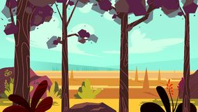 Cartoon autumn forest background. Seamless parallax for arcade video game. Vector illustration, size 1920x1080. Royalty Free Stock Photos